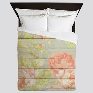 Shabby Chic Country Floral Peony Wood Queen Duvet