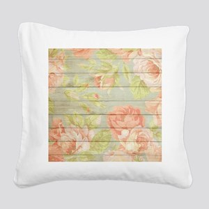 Shabby Chic Country Floral Pe Square Canvas Pillow