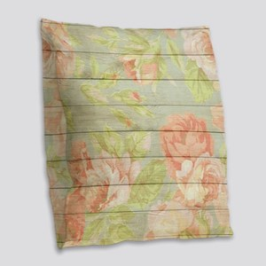 Shabby Chic Country Floral Peo Burlap Throw Pillow