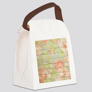 Shabby Chic Country Floral Peony Canvas Lunch Bag