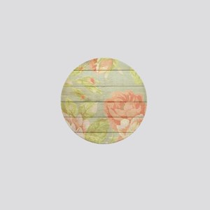 Shabby Chic Country Floral Peony Wood Mini Button
