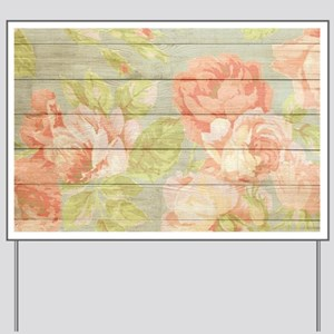 Shabby Chic Country Floral Peony Wood Yard Sign