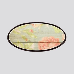 Shabby Chic Country Floral Peony Wood Patch