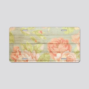 Shabby Chic Country Floral Aluminum License Plate