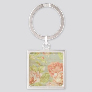 Shabby Chic Country Floral Peony Wood Keychains