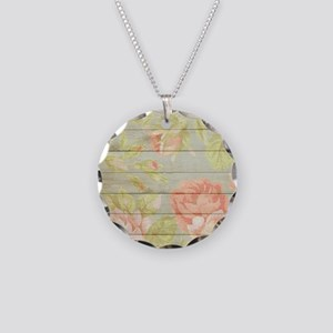 Shabby Chic Country Floral P Necklace Circle Charm