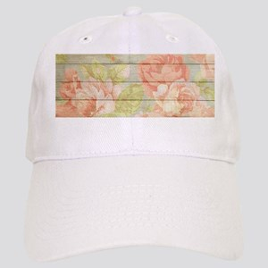 Shabby Chic Country Floral Peony Wood Cap