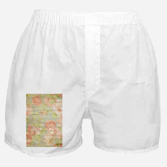 Shabby Chic Country Floral Peony Wood Boxer Shorts