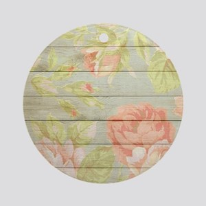 Shabby Chic Country Floral Peony Wo Round Ornament