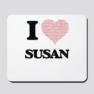 I love Susan (heart made from words) des Mousepad