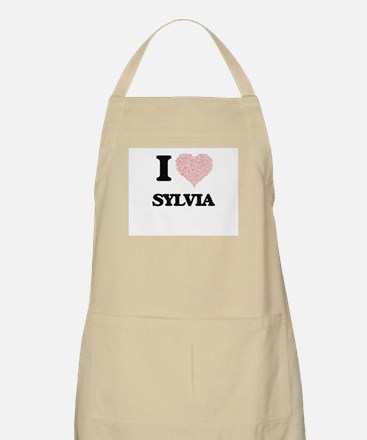I love Sylvia (heart made from words) design Apron