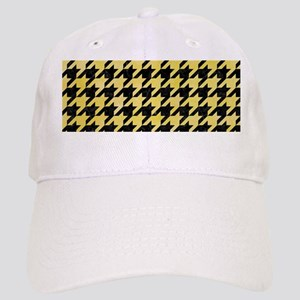 HOUNDSTOOTH1 BLACK MARBLE & YELLOW WATERCOLOR Cap