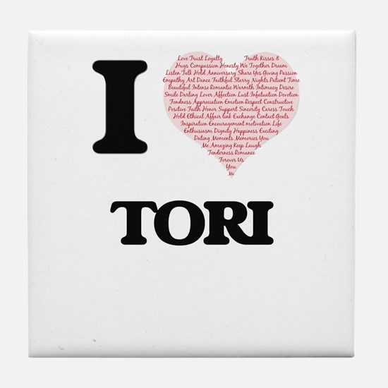 I love Tori (heart made from words) d Tile Coaster