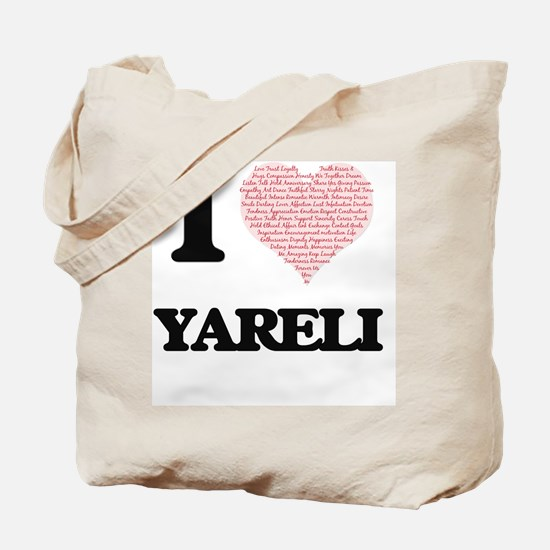 I love Yareli (heart made from words) des Tote Bag