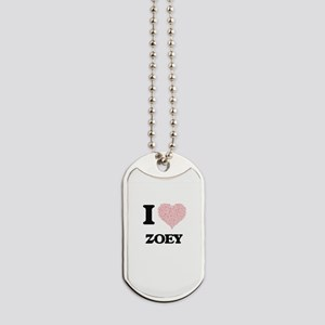 I love Zoey (heart made from words) desig Dog Tags