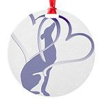 Greyhound Hearts Round Ornament