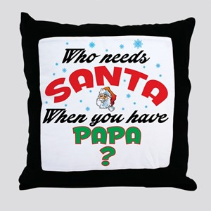 WHO NEEDS SANTA WHEN YOU HAVE PAPA Throw Pillow