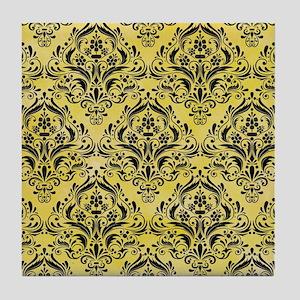 DAMASK1 BLACK MARBLE & YELLOW WATERCO Tile Coaster