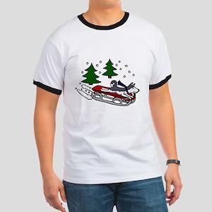 Funny Husky Playing on Sled T-Shirt
