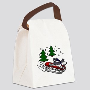 Funny Husky Playing on Sled Canvas Lunch Bag