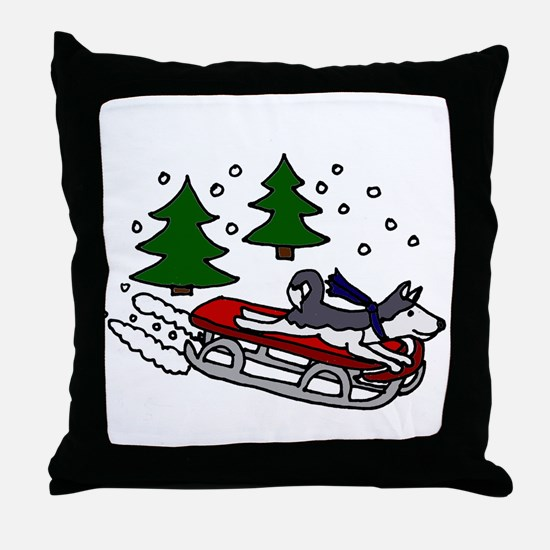 Funny Husky Playing on Sled Throw Pillow
