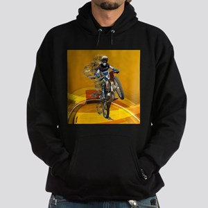 Motocross Wheelie in Pieces Abstract Hoodie (dark)