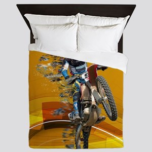 Motocross Wheelie in Pieces Abstract D Queen Duvet