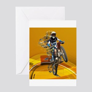 Motocross Wheelie in Pieces Abstrac Greeting Cards