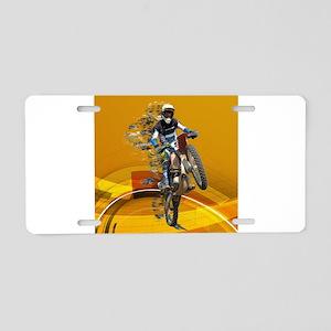 Motocross Wheelie in Pieces Aluminum License Plate