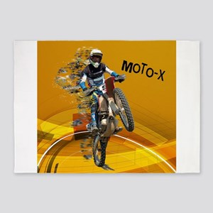 Motocross Abstract Desert TEXT MOTO 5'x7'Area Rug