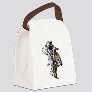 Motocross with Flying Pieces Canvas Lunch Bag