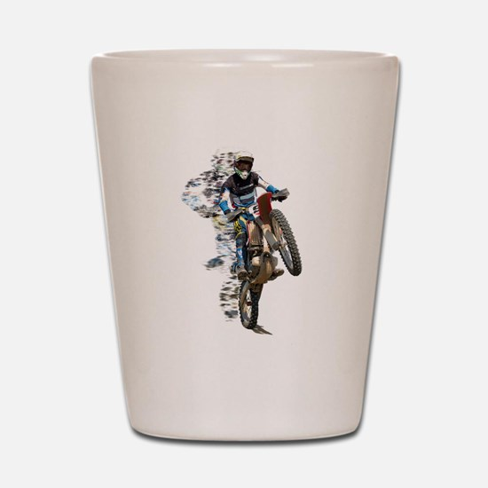 Motocross with Flying Pieces Shot Glass