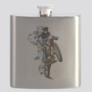 Motocross with Flying Pieces Flask