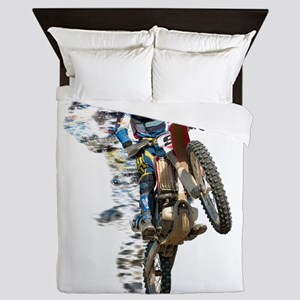 Motocross with Flying Pieces Queen Duvet