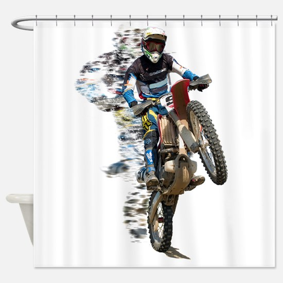 Motocross with Flying Pieces Shower Curtain