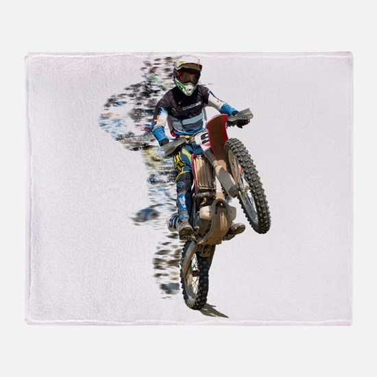 Motocross with Flying Pieces Throw Blanket