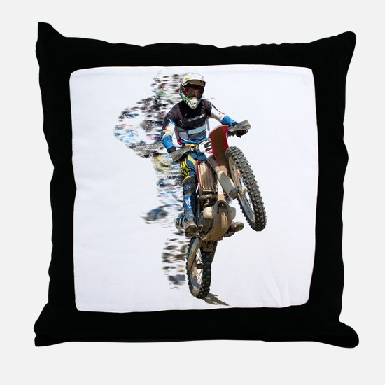 Motocross with Flying Pieces Throw Pillow