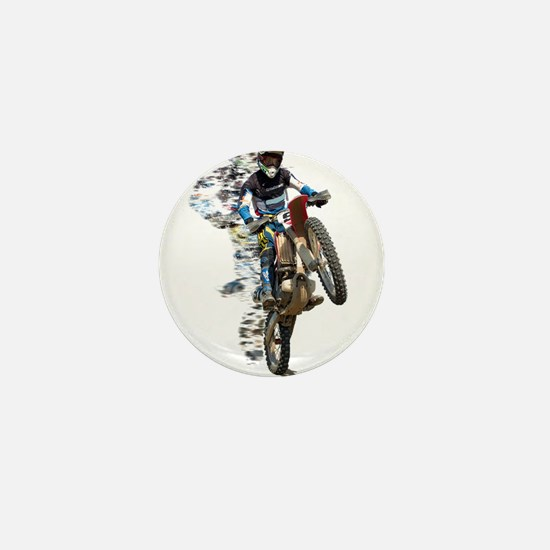 Motocross with Flying Pieces Mini Button