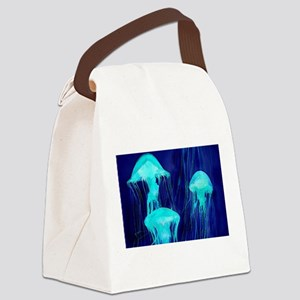 Neon Glowing Jellyfish in the Oce Canvas Lunch Bag