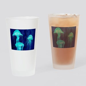 Neon Glowing Jellyfish in the Ocean Drinking Glass