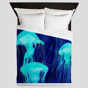 Neon Glowing Jellyfish in the Ocean Queen Duvet