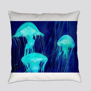 Neon Glowing Jellyfish in the Ocea Everyday Pillow