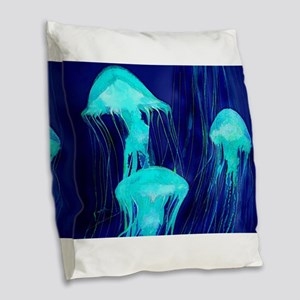 Neon Glowing Jellyfish in the Burlap Throw Pillow