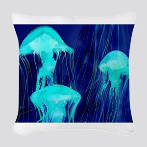 Neon Glowing Jellyfish in the Woven Throw Pillow
