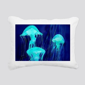 Neon Glowing Jellyfish i Rectangular Canvas Pillow