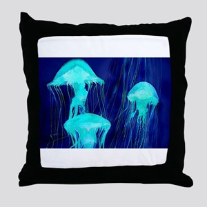 Neon Glowing Jellyfish in the Ocean Throw Pillow
