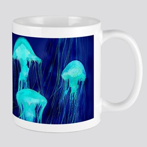 Neon Glowing Jellyfish in the Ocean Mugs
