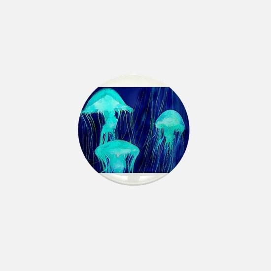 Neon Glowing Jellyfish in the Ocean Mini Button