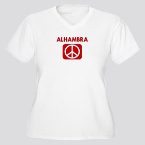 ALHAMBRA for peace Women's Plus Size V-Neck T-Shir