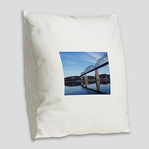 Walnut_Street_Bridge Burlap Throw Pillow